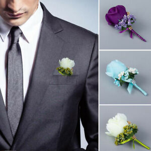 1PC Women Groom Boutonniere Corsage Brooch PinArtificial Hand Flower Anniversary