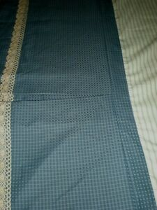 Custom Bed Skirt Federal Blue Basketweave Lined Box Pleated Crochet Lace Trim