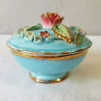 Vintage Enesco Japan Porcelain Powder or Trinket Jar with Raised Floral Design