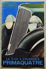 RENAULT PRIMAQUATRE Car Sales Brochure 1934 FRENCH TEXT #VT 218-10.33