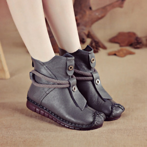 2021 Winter Flat Shoes Retro Ankle Boots Women Soft Pu Ankle Boots Hot