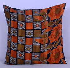 "24"" VINTAGE KANTHA QUILT THROW PILLOW CUSHION COVER Handmade Indian Decor Art"