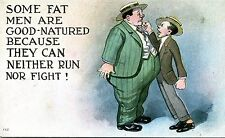 Vintage COMIC Postcard FAT MAN Can Neither Run nor Fight! skinny man