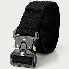 Mens World Military Grade Black Belt Combat Solid Metal Durable I II Army War UK