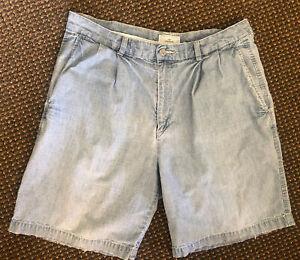 Vintage Dockers Shorts sz 33 W33 36 Waist Mens Blue Denim Jeans Light 90s Y2K