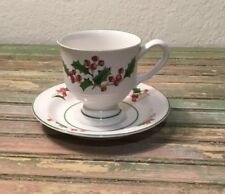 Sango  WHITE CHRISTMAS  Footed Coffee Mug Cup & Saucer Christmas