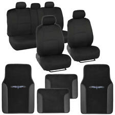 Car Seat Covers Set Black and Black w/ Carpet Floor Mats w/ Pu Leather Trim