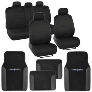 carXS Full Black Car Seat Covers Set +PU Leather Trim Carpet Floor Mats⭐⭐⭐⭐⭐