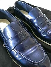 REDUCED Chanel Navy Blue Patent Leather CC Logo Slip On Loafers EU 37.5 US 7.5