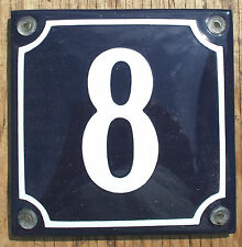 FRENCH ENAMEL HOUSE NUMBER SIGN. WHITE No.8 ON A BLUE BACKGROUND. 10x10cm.