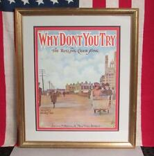 Vintage Why Don't You Try The Rolling Chair Song Sheet Music early 1900s Framed