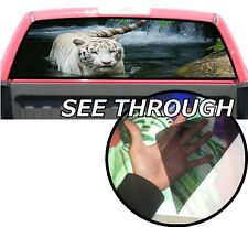 P65 White Tiger Rear Window Tint Graphic Decal Wrap Back Pickup Graphics