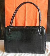 Sac a main noir peau de lezard L 29 cm H 21 cm E 9 cm, black handbag lizard skin