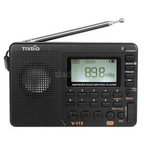 Portable FM AM SW Multiband Radio Receiver REC Recorder Bass Sound + Sleep Timer