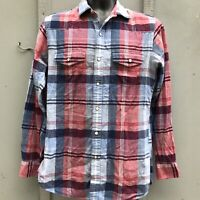 Brooks Brothers Slim Fit Plaid Pearl Snap Western Shirt Men Size Small
