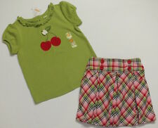 NWT 5T Gymboree Cherry Cute green top & red blue pink plaid pleated skirt set 5