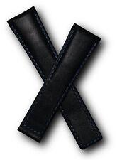 Correa De Cuero Negro Con Azul Costura para adaptarse a Tag Heuer Monaco