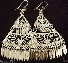 TAXCO MEXICAN 925 STERLING SILVER FILIGREE DECO SCROLL DANGLE EARRINGS MEXICO