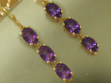 E100- Genuine 10K Yellow Gold Natural Amethyst Journey Drop Earrings