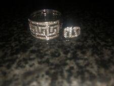 18k White Gold Diamond Greek Key Ring & 14k White Gold Diamond Stud/Post Earring