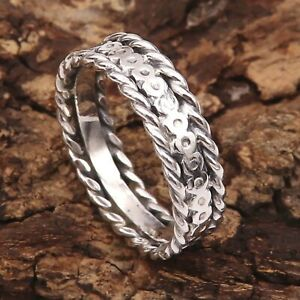 Band Ring Solid 925 Sterling Silver Meditation Ring All Sizes GESR94