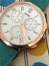 Fossil Abilene Sport Rose Gold Tone Teal Blue Leather Chronograph Watch CH3089