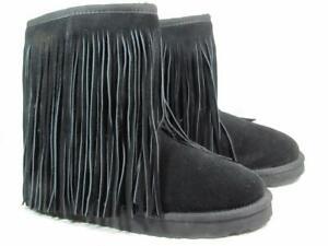 Koolaburra Fringe Sheepskin Boot Women size 7 Black
