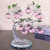 Crystal Glass Pink Apple Fruit Tree Ornaments Gift Home Desk Craft Decor