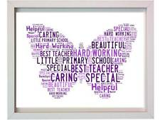 Personalised Teacher Word Art Thank You Christmas Gift Butterfly Present Xmas