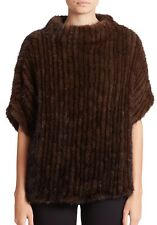 NWT $1695 + Tax Adrienne Landau Knit Mink Poncho M/L - Authentic - Saks;Bergdorf