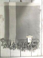 "Pottery Barn Plaid Fringe Throw Blanket Gray White 50"" X 60"""