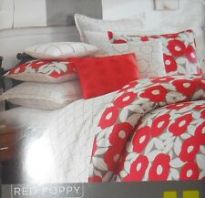 Not Neutral Red Poppy Twin Bed Skirt Polka Dots 100% Cotton White Red Gray New