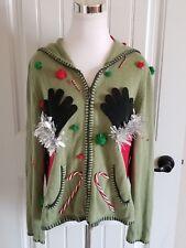 Ugly Naughty Funny Christmas Sweater Cardigan Santa Hands GROPING TA TA'S -  XL