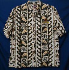 Aloha Shoyu Embroidered Riggers Hawaiian 2XL Shirt Honu Waves Black Tan White