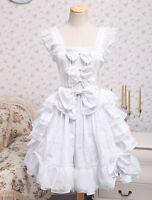 Sweet White Bows Ruffles Square Sleeveless Custome Cotton Lolita fashion Dresses