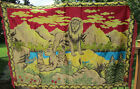 """VTG Velvet Lion Pride in a Valley Wall Hanging Red Tapestry w/Tassels 48"""" x 70"""""""