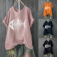 Women Casual Loose Blouse Fish Bone Print Loose Short Sleeve Shirt Funny Tops
