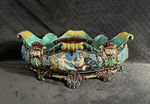 Antique Hugo Lonitz Palissy Majolica Pottery Satyr Mask Jardiniere Planter Vase