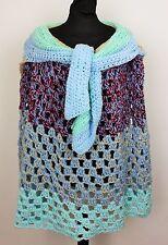 Femme handknitted/Crochet Cape Poncho Shrug hippie boho festival gratuit taille