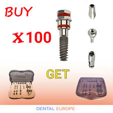 100 Dental Implants + Surgical Box +100 Abutments +100 Healing Caps +100 Analogs