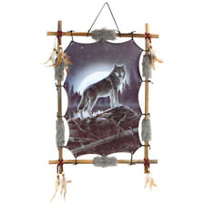 """22""""x16"""" Night Wolf Cliff Moon Dream Catcher Wall Hang Decor Feathers Wood Frame"""