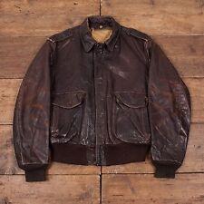 """Homme schott vintage en cuir blouson aviateur marron l 46"""" R3822"""