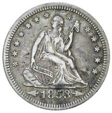 1853 US Seated Liberty Quarter 90% Silver Coin Type II Arrows & Rays gEF/AU