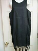 Black Fringe Sleeveless Dress by Mud Pie, Size Medium, NWT