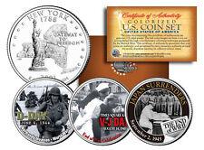 WORLD WAR II 3-Coin Set NY Statehood US Quarters * D-DAY * V-J DAY * End of WWII