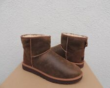 UGG MENS CLASSIC MINI CHESTNUT BOMBER SUEDE/ SHEEPSKIN BOOTS, US 13/ EUR 47 ~NIB