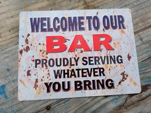 GARDEN BAR Funny Metal Signs Vintage Retro Yard Shed Garage Wall Plaque Tin Sign