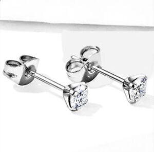 Pair CZ Prong Set Implant Grade 23 TITANIUM Stud Earrings - BOXED - Choose Size