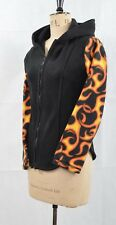 Made in the UK Cozy Flame Sleeved Fleece Hooded Top S/M UK 10 Rocker Warm Punk