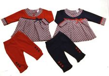 Baby Girl Dress Set Outfit leggings Checked Red Navy 0-3-6-9M Xmas Gift SALE